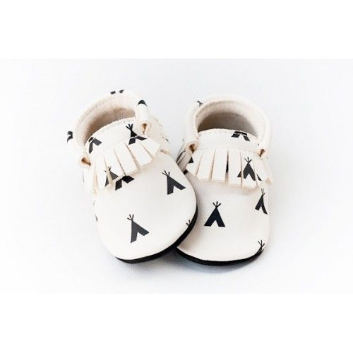 Cute baby girl shoes - Mocassin Teepee Black & White
