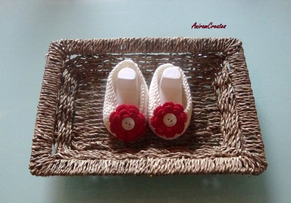 Hand knitted Baby Girl Cotton  Shoes/Slippers by AniramCreates, £10.99