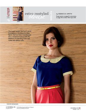 Pattern: Retro Restyled Blouse - Media - Sew Daily. Pattern pieces only, no instructions.