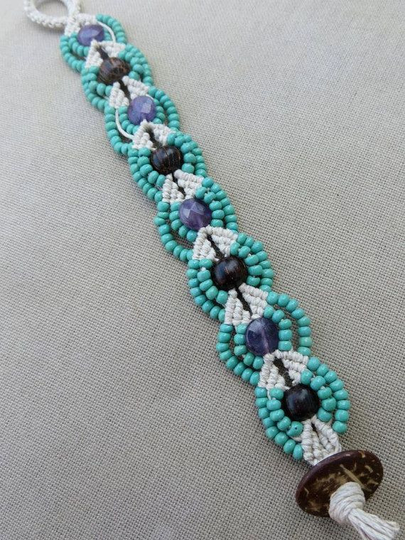 Hemp Macrame Bracelet with Faceted Amethyst, Wood and Glass
