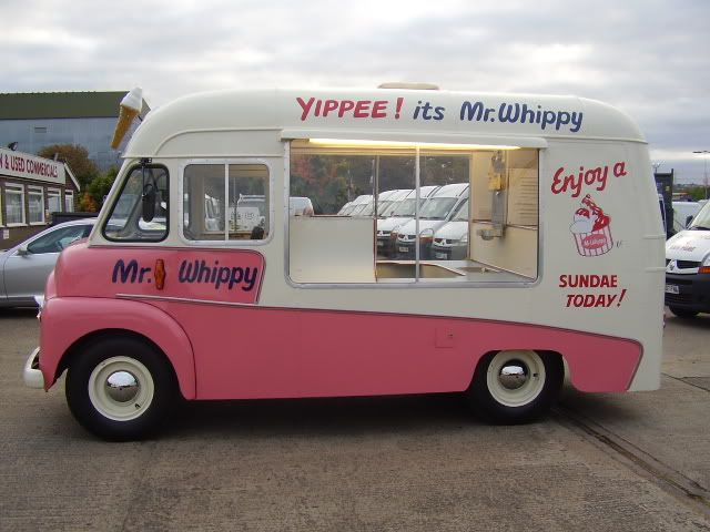 Mr. Whippy - sells soft serve icecream, travels around the streets, people come out and buy icecream from their houses. A sunday treat after a baked dinner...