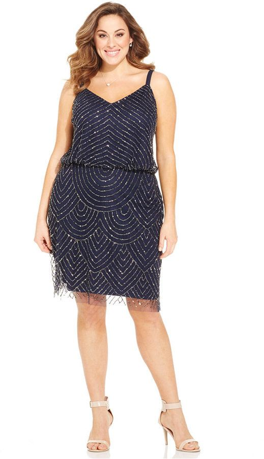 Plus Size Embellished A-Line Cocktail Dress