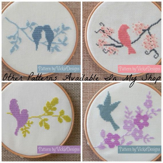 Bird Cherry Blossom Modern Cross Stitch Pattern by VickieDesigns