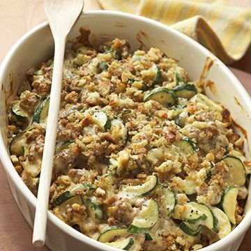 Zucchini-Sausage Casserole          Pork sausage, zucchini, canned soup, sour cream, and stuffing mix create a satisfying (and simple) casserole dinner.