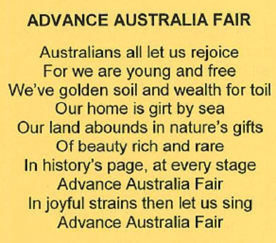 Advance Australia Fair - one verse from the National Anthem