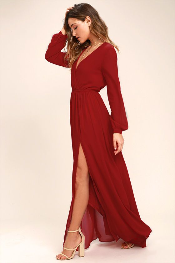 Take a moment to marvel at the sheer beauty of the Wondrous Water Lilies Red Maxi Dress! Lightweight chiffon shapes a surplice bodice framed by sheer long sleeves. A billowing maxi skirt with front slit falls below the elasticized waist for a stunning finish.