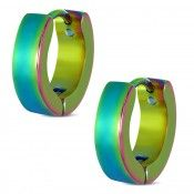 Multi Coloured Hinged Hoop Earrings For Men In Stainless Steel #colourful #jewellery #fashion #bright #earrings