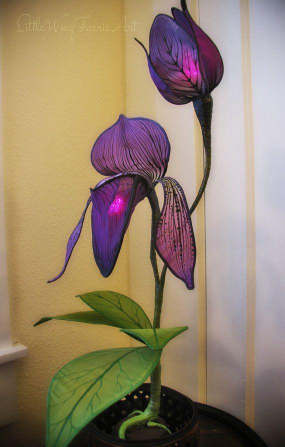 Lady Slipper Orchid Silk Sculpture Lamp by littlewingfaerieart