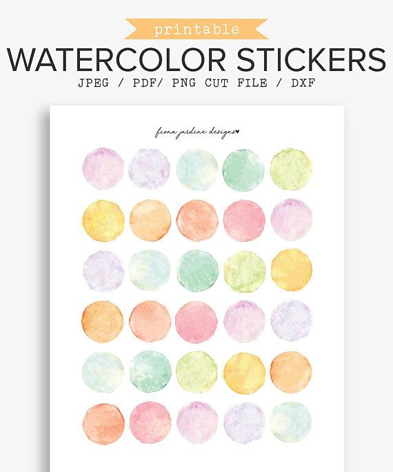 graphic regarding Circle Printable Stickers named Printable Watercolor Bullet Magazine Stickers, Hand Painted