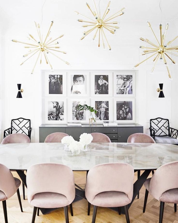 Gorgeous Blush Pink Chairs In A Modern Dining Room Pink Home Decor