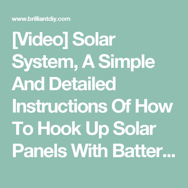 simple solar hook up How to install a solar pool heater there are some quality do-it-yourself solar heaters from game and smartpool that are simple to install and take up very.