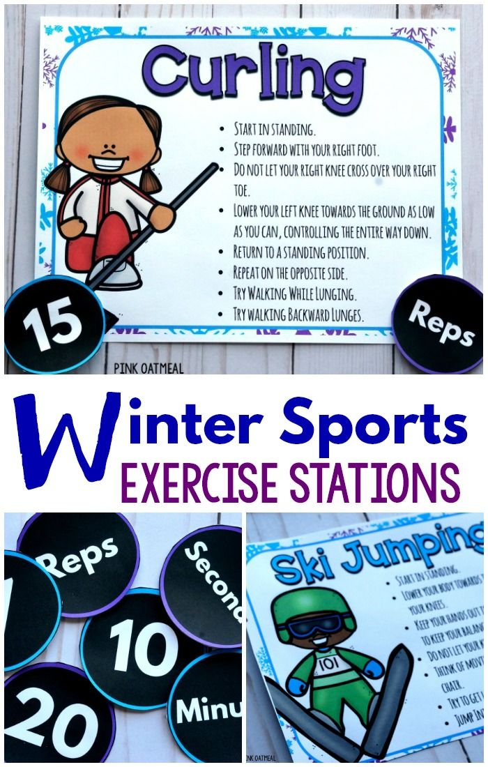 Fun ways to add physical activity with a winter sports theme!  Fun winter sports stations for physical education, the classroom, physical therapy, occupational therapy and beyond!  A fun way to incorporate classroom brain breaks!  Fun for preschool gross motor.  A combination of fitness and yoga poses!