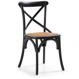 Silea - Hout - Zwart - Rottan - Laforma-Kave Stoere retro stoel! Ga terug in de tijd met deze houten stoel en rottan zitting. De stoel is van iepen hout en is afgewerkt met een 'kruis' om de rug nog beter te ondersteunen.