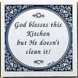 Inspirational Plaque: God Blesses Kitchen..