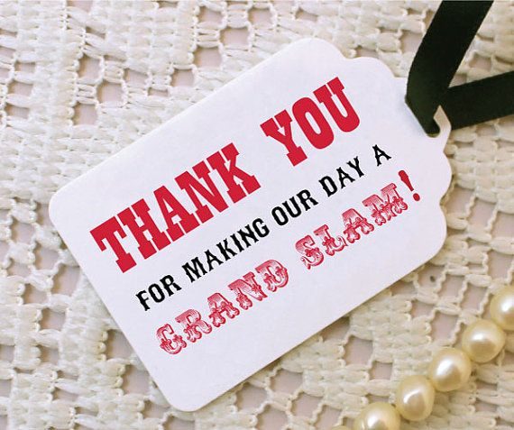 Baseball Wedding Favor Tags with ribbon by Bellus Designs on Etsy