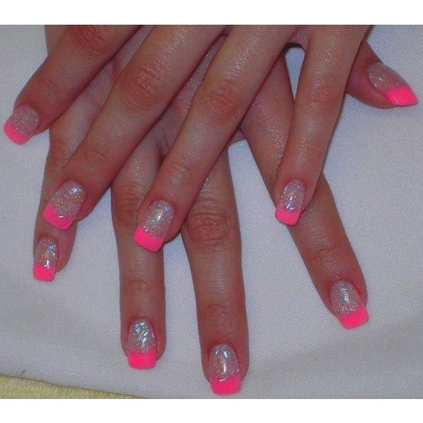 Neon Pink Glitter Acrylic Tips Nail Art Archive via Polyvore featuring nails