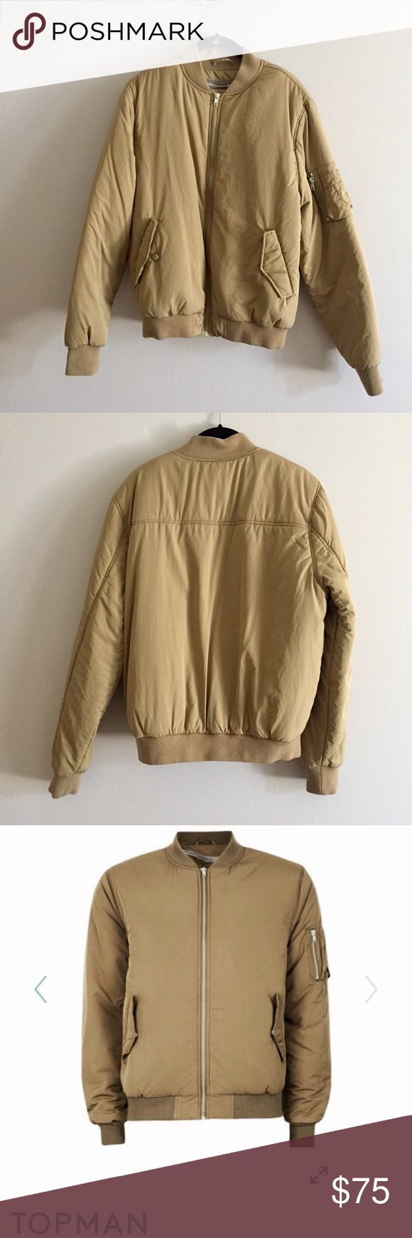 TOPMAN Padded Bomber Jacket In Olive Beige TOPMAN Medium Bomber Jacket, Very Nice Material, This Has A Second Layer Inside For Extra Warmth But Can Be Taken Off By Zipper. Great Condition, Only Flaw Is That Tare By The Right Pocket. Retails $110 At Nordstrom. Can Fit A Woman's Small Or Medium! Topman Jackets & Coats Puffers