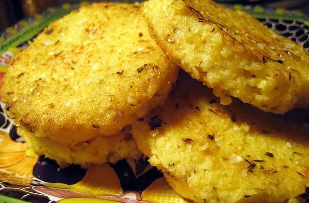 Foodista | Recipes, Cooking Tips, and Food News | Parmesan Herb Millet Cakes