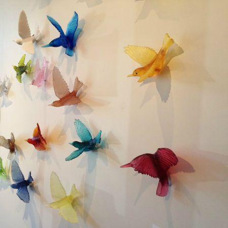 Spectacular cast glass birds by Auckland's Lukeke Designs.