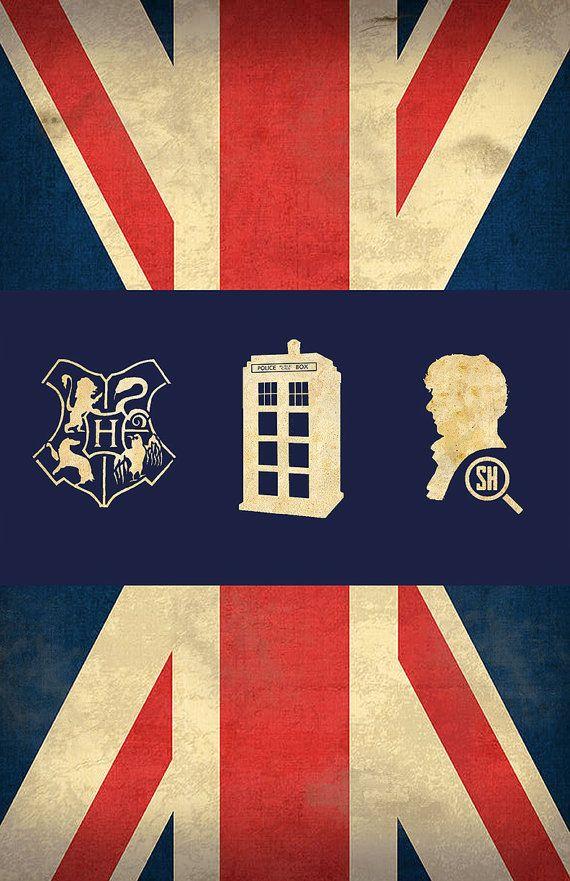 Affiche britannique de Fandom cadeau teenage Unisex - Harry Potter Doctor Who Sherlock Holmes Union Jack Design                                                                                                                                                                                 Plus