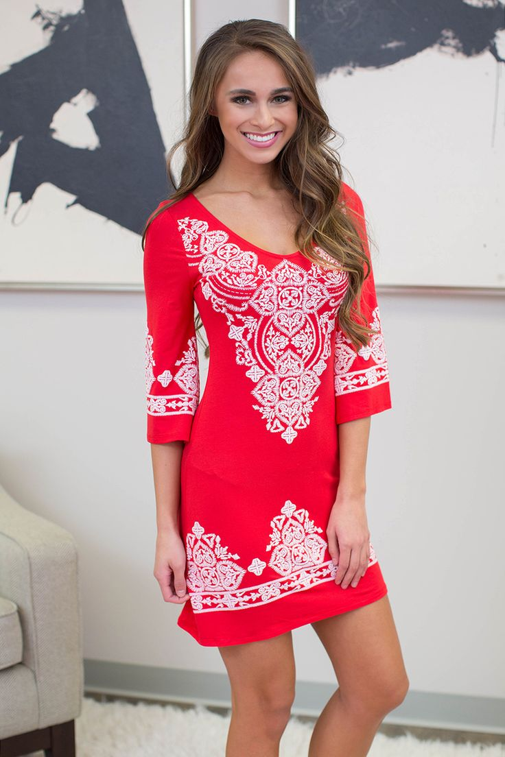 Lasting Impression Dress Red CLEARANCE - The Pink Lily