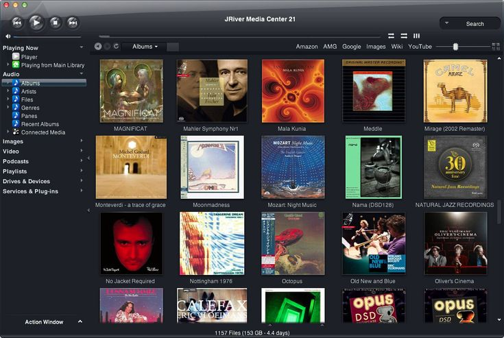 JRiver MC21 media center app for cataloging and playing music albums stored on the computer