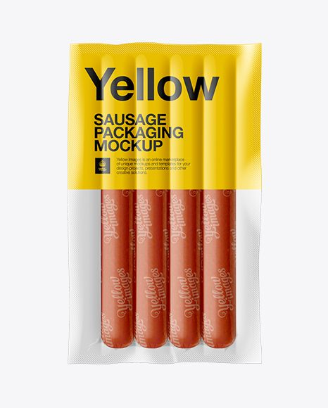 Vacuum Package Of Sausages Mockup. Preview