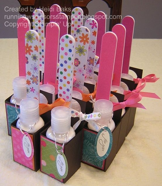 little lotion and nail file packages. Would be cute w polish...great gift for co-workers