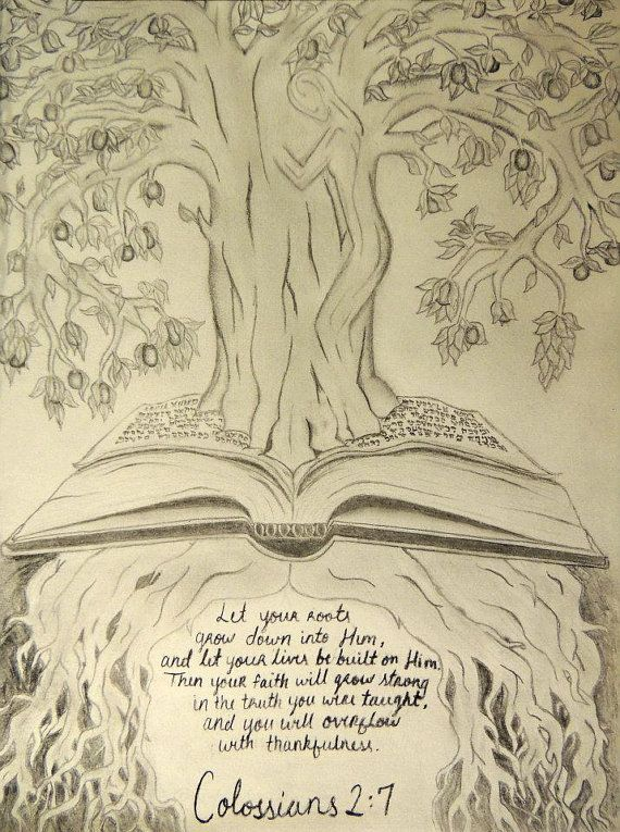 Pencil Sketch of an illustration of Colossians 2:7 on Etsy, $40.00