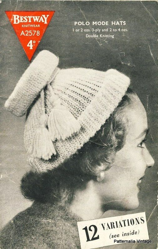 Bestway pattern, No. A2578: Vintage ladies hat knitting pattern from the 1940's. This pattern has 12 different styles of hat. #1940s #knitting ~ at PatternaliaVintage