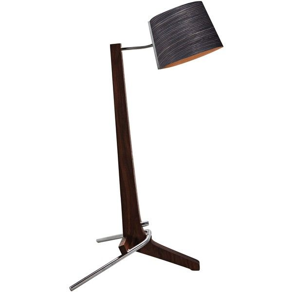 Cerno Silva Black Walnut and Ebony LED Table Lamp (£385) ❤ liked on Polyvore featuring home, lighting, brown, desk lamps, brown shades, dimmable lights, onyx lamp, dimmer lamp and black shades