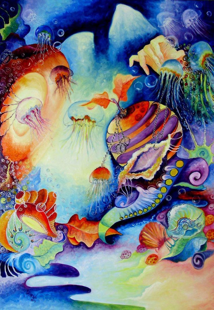 Oil on canvas. Title: LA TRONUL MEDUZELOR, size 100x70cm