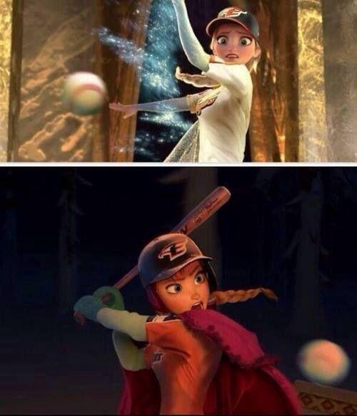 Anna & Elsa playing baseball