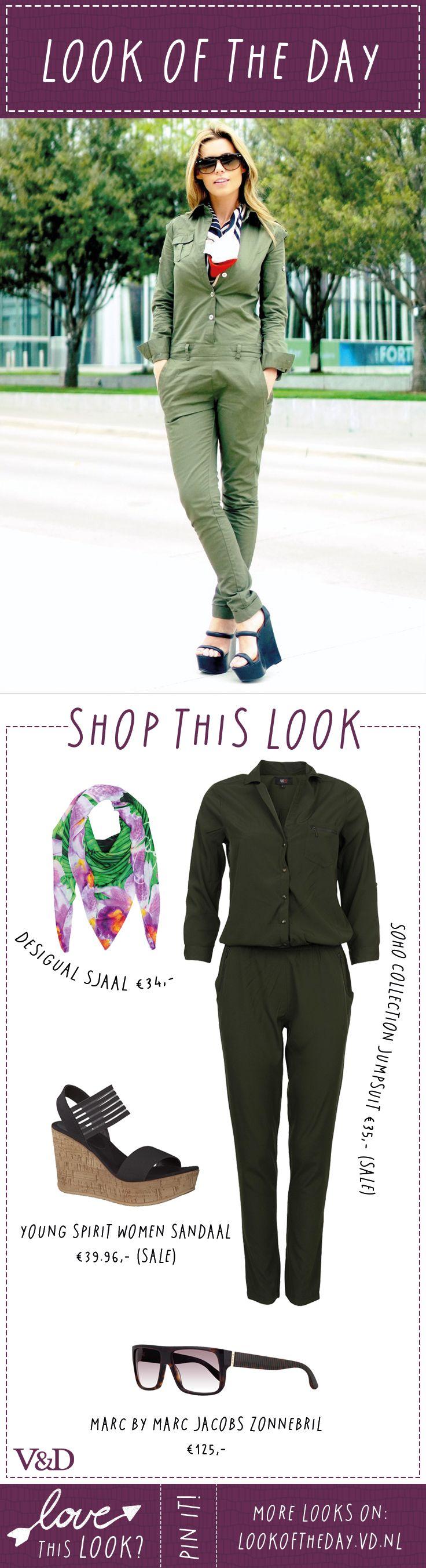 Spring in deze jumpsuit en je outfit is al bijna 'ready to go'! Maak je outfit af met een paar leuke hakken of zomerse slippers. #vdlotd #lookoftheday
