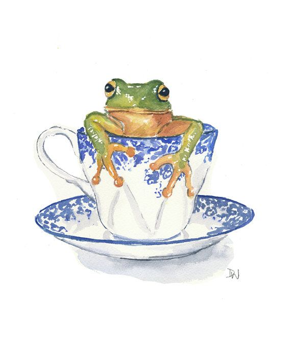 Original Frog Watercolor Painting Teacup Watercolour