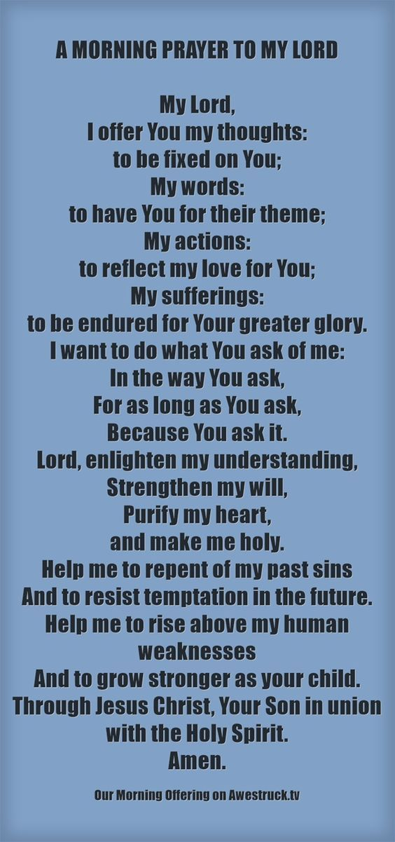 |Our Morning Offering - April 1 #pinterest  A MORNING PRAYER TO MY LORD  My Lord, I offer You my thoughts: to be fixed on You; My words:...... Awestruck Catholic Social Network