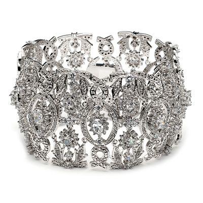 Vintage Style Floral Art Deco Cubic Zirconia Bracelet
