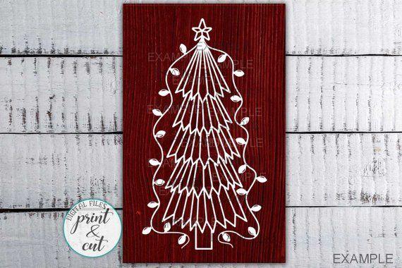 Primitive Christmas Tree Svg Christmas Tree With Lights Svg Etsy Primitive Christmas Tree Christmas Svg Design Primitive Christmas