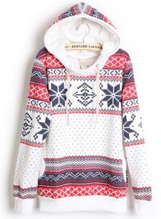 Hooded Geometric White Sweatshirt