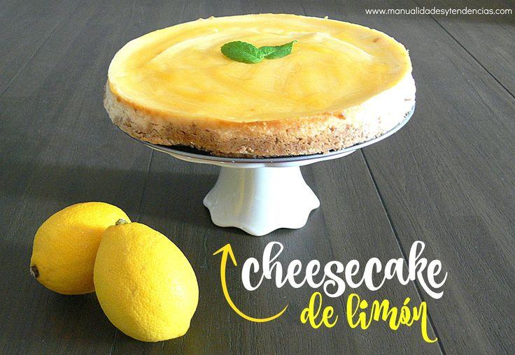 Receta #cheesecake de limón www.manualidadesytendencias.com #tartadequeso #postres #repostería #tartas #recetasfáciles #limón #lemon #dessert #cakes