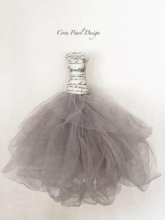 Favola Cenerentola abito di carta, decorazione di Tulle grigio carta abito - nuziale favore - Abito da sposa - regalo di nozze di Ballerina Dress - balletto