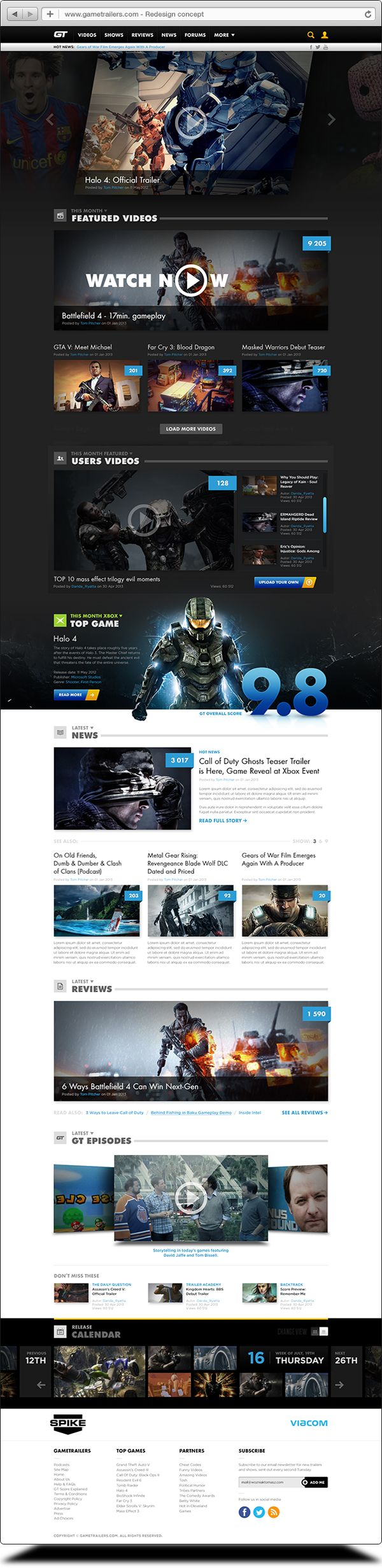 Gametrailers redesign concept by Tom Wozniak, via Behance