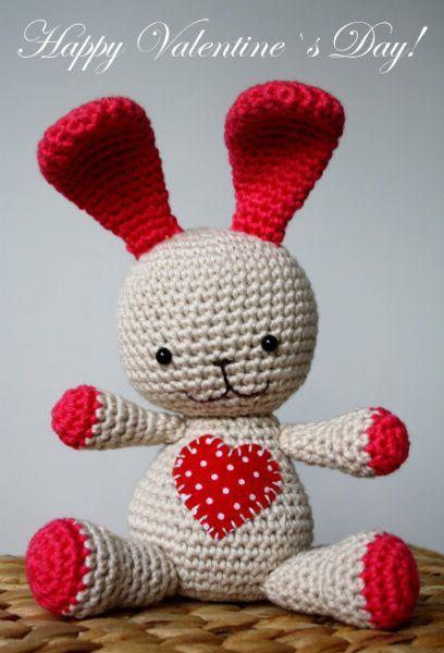 A little heart bunny, free pattern amigurumi