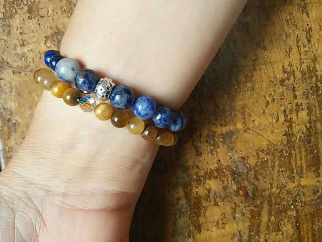 Sodalite, lapiz lazuli,tiger eye Stonebracelets