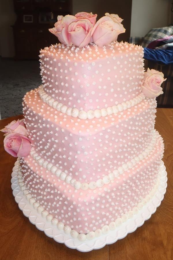 Pretty Pink Triple Heart Cake