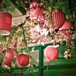 The music plays as the patio lanterns welcome the guests to a beautiful summer evening party.