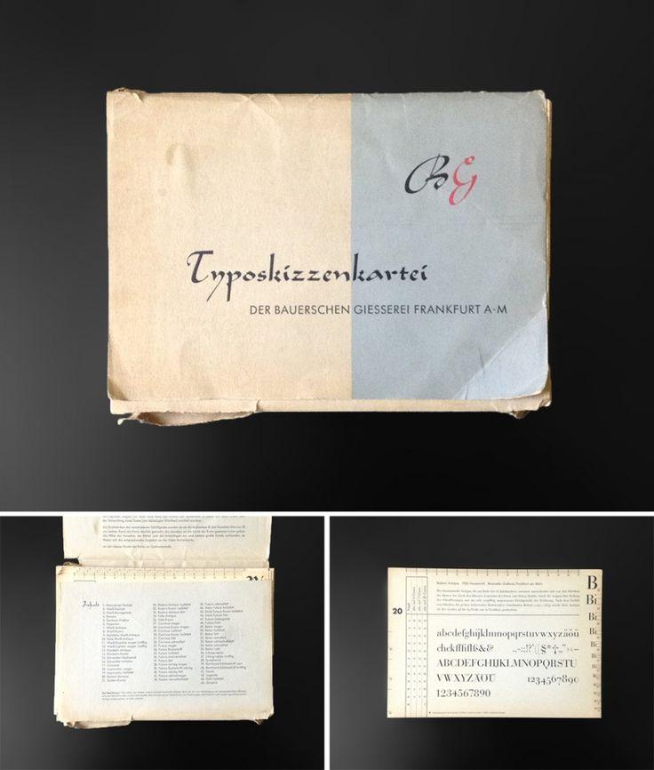 Die Typoskizzenkartei der Bauerschen Giesserei war ein Hilfsmittel für das typografische Skizzieren. Schriftsetzer haben sich so mit dem Zeichnen unterschiedlichen Schriften vertraut machen können.