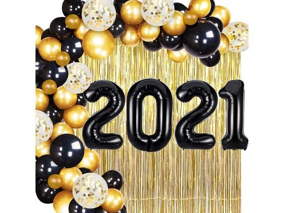 2021 Black Gold Confetti Balloons Kit for New Years Day Party 2021 Number balloon for Birthday party Wedding Anniversary Party Festival Party Baby Shower Home Office Decorations