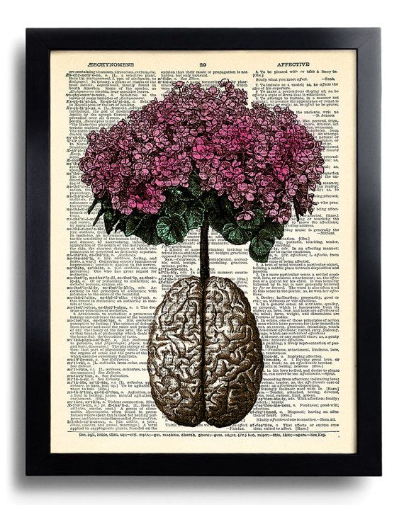 Brain Human Anatomy Flowers Art Print Vintage Book Print Recycled Vintage Dictionary Page Collage Repurposed Book Upcycled Dictionary 029 on Etsy, $10.00