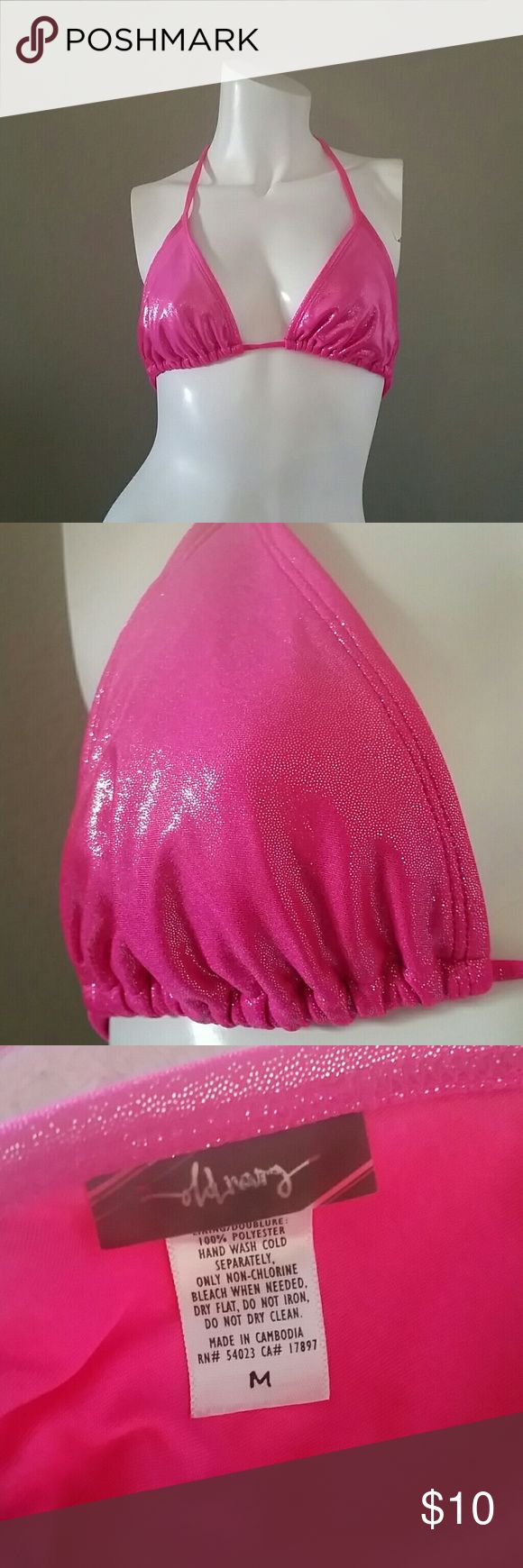 Old Navy pink bikini triangle top shimmery m Old Navy bikini top, shimmery pink, Medium, triangle top, pre-owned, no removable pads, has slots, Old Navy Swim Bikinis